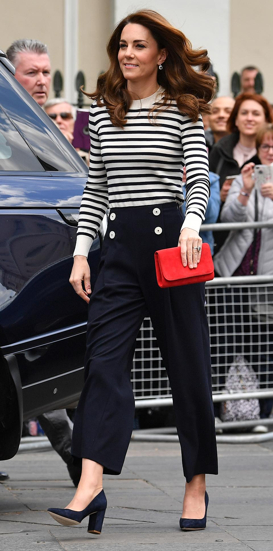 The Duchess of Cambridge arrives to launch the King's Cup Regatta on May 7, 2019. (Getty Images)
