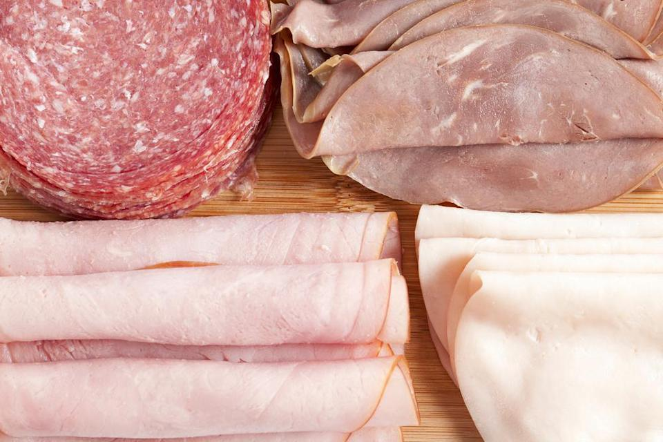 """<p>Sliced deli meat like turkey, ham or salami are great to have on hand for the <a href=""""https://www.thedailymeal.com/cook/12-super-sandwiches-fit-any-meal-slideshow?referrer=yahoo&category=beauty_food&include_utm=1&utm_medium=referral&utm_source=yahoo&utm_campaign=feed"""" rel=""""nofollow noopener"""" target=""""_blank"""" data-ylk=""""slk:best sandwiches"""" class=""""link rapid-noclick-resp"""">best sandwiches</a>, but they don't have the longest shelf life. If your your meat develops a foul odor, throw it out immediately. As a general rule of thumb, make sure to eat deli meat within three to five days of opening the package.</p>"""