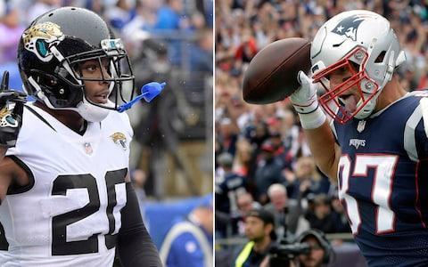 <span>All eyes will be on Jalen Ramsey and Rob Gronkowski as they go head to head on Sunday night</span> <span>Credit: (AP Photo/File) </span>