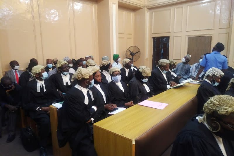 General view of a cross session of lawyers in a court during a hearing of a blasphemy case in Kano