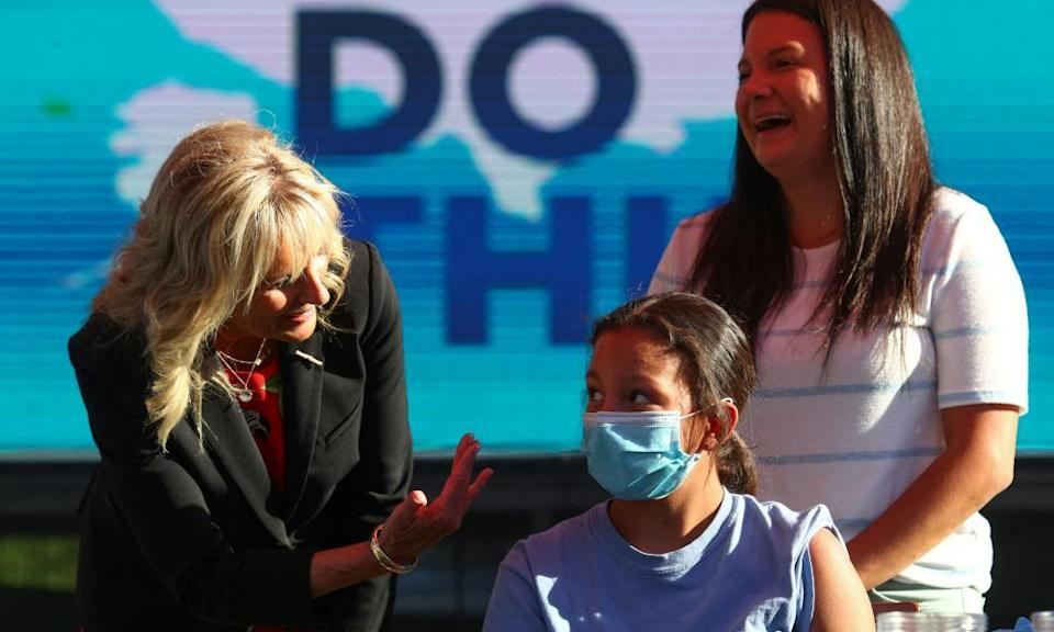 US first lady Jill Biden at a Covid-19 vaccination site at Ole Smoky Distillery in Nashville, Tennessee, on Tuesday.