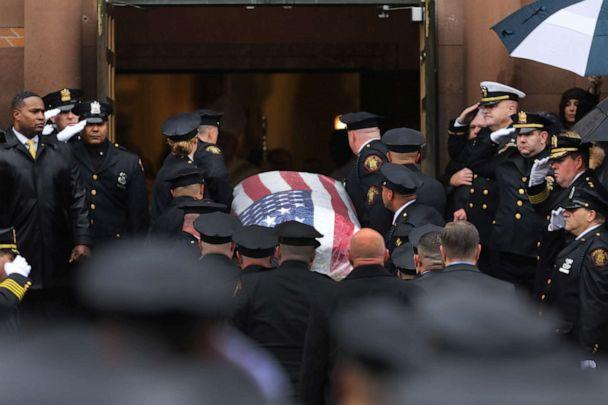 PHOTO: The casket of New Jersey Detective Joseph Seals is brought into the church on Dec. 17, 2019 in Jersey City, New Jersey, after he was killed in a Dec. 10 shooting that left three other people dead. (Spencer Platt/Getty Images)