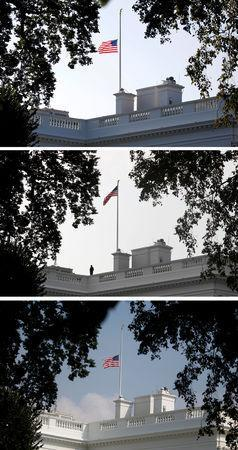 A combination of three photographs shows the U.S. flag atop the White House flying at half staff Sunday morning August 26 in honor of the death of Senator John McCain (top), back at full staff less than 24 hours later on Monday morning August 27 (middle) and then back down to half-staff Monday afternoon (bottom) in Washington, U.S., August 27, 2018. REUTERS/Joshua Roberts, Kevin Lamarque and Leah Millis