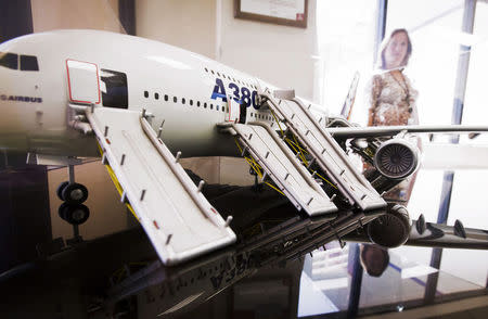 A model of an A380 Airbus with its evacuation slides deployed is displayed in the lobby at UTC Aerospace Systems in Phoenix