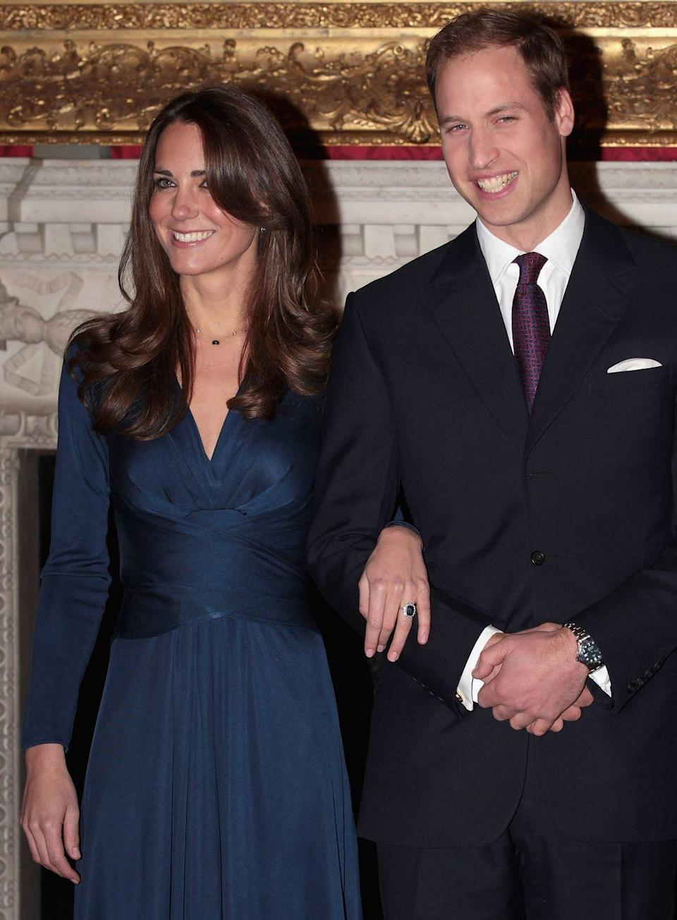 "<p>As a way to honor his mother, Prince William asked Kate Middleton to marry him with his mother's ring. The ring was too big, so <a href=""https://www.goodhousekeeping.com/life/a22727712/princess-diana-engagement-ring/"" rel=""nofollow noopener"" target=""_blank"" data-ylk=""slk:platinum beads were placed inside"" class=""link rapid-noclick-resp"">platinum beads were placed inside</a> to make it smaller. Now, the ring is worth nearly $500,000.</p>"