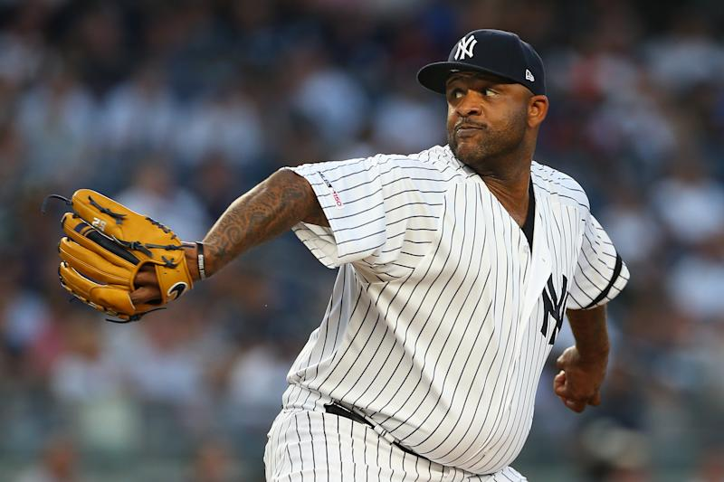 NEW YORK, NY - AUGUST 30: CC Sabathia #52 of the New York Yankees delivers a pitch against the Oakland Athletics during the first inning of a game at Yankee Stadium on August 30, 2019 in New York City. (Photo by Rich Schultz/Getty Images)