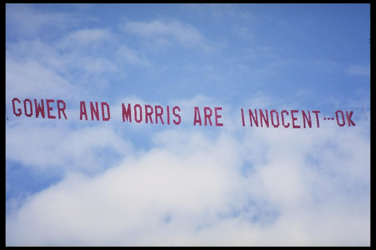 "Feb 1991:  A banner proclaiming the innocence of David Gower and John Morris circles the WACA ground in Perth during the 5th Test between England and Australia.  This followed the infamous ""Tiger-Moth"" incident which effectively cost John Morris his testcareer.                                                                              Mandatory Credit: Adrian Murrell/Allsport UK"
