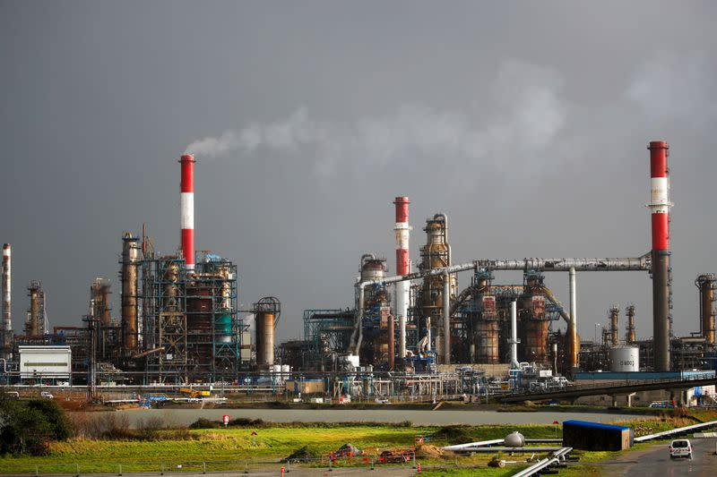 A general view shows the French oil giant Total Refinery in Donges