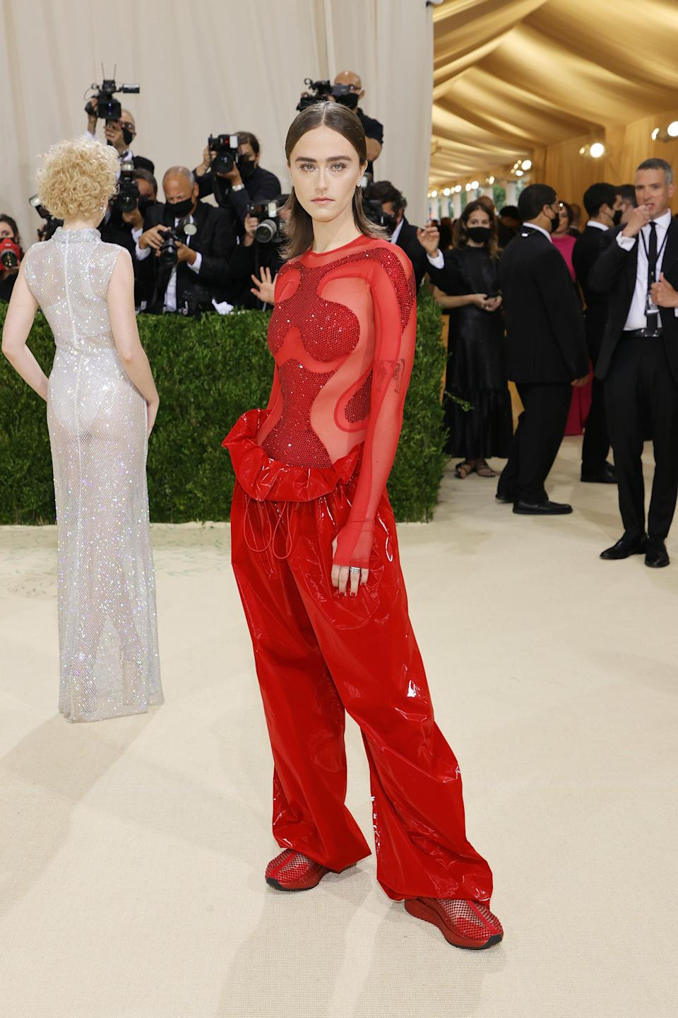 <h2>Ella Emhoff wearing adidas by Stella McCartney</h2><br>The First Daughter of Bushwick has arrived at the Met Gala — and she's wearing USA-red by Stella McCartney!