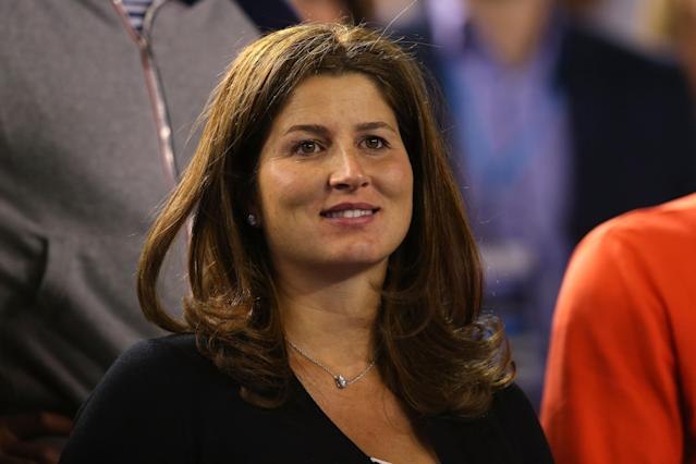 MELBOURNE, AUSTRALIA - JANUARY 22: Mirka Federer, wife of Roger Federer of Switzerland watches him in his quarterfinal match against Andy Murray of Great Britain during day 10 of the 2014 Australian Open at Melbourne Park on January 22, 2014 in Melbourne, Australia. (Photo by Mark Kolbe/Getty Images)