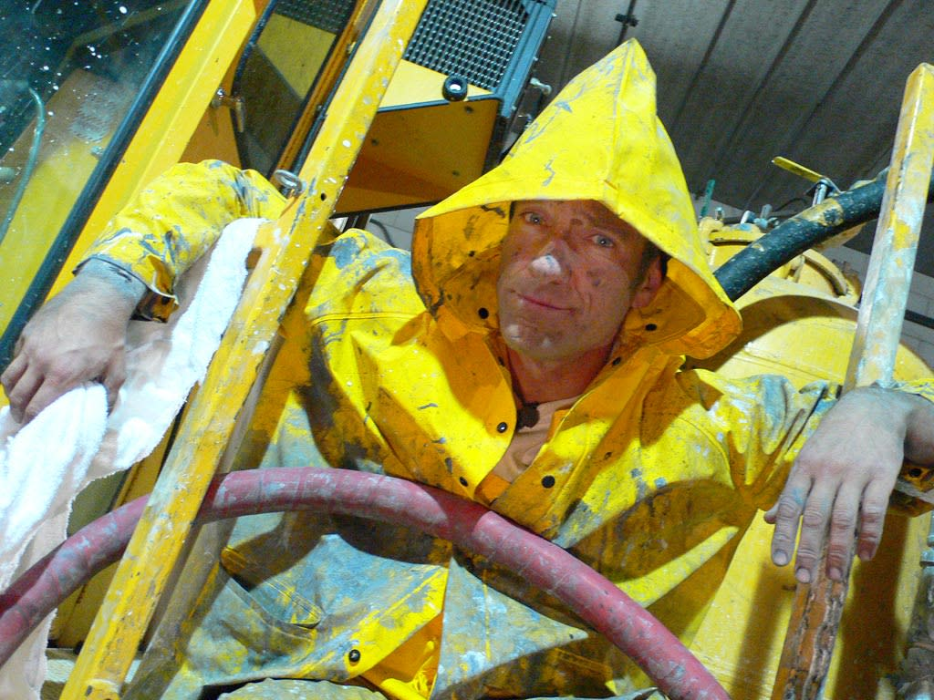 Host Mike Rowe  in Paint Truck Cleaner episode of Dirty Jobs.