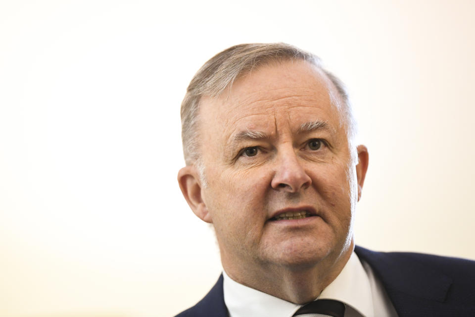 CANBERRA, AUSTRALIA - DECEMBER 7:  Australian Opposition Leader Anthony Albanese speaks during the Kmart Wishing tree launch at Parliament House on December 7, 2020 in Canberra, Australia. (Photo by Lukas Coch - Pool/Getty Images)