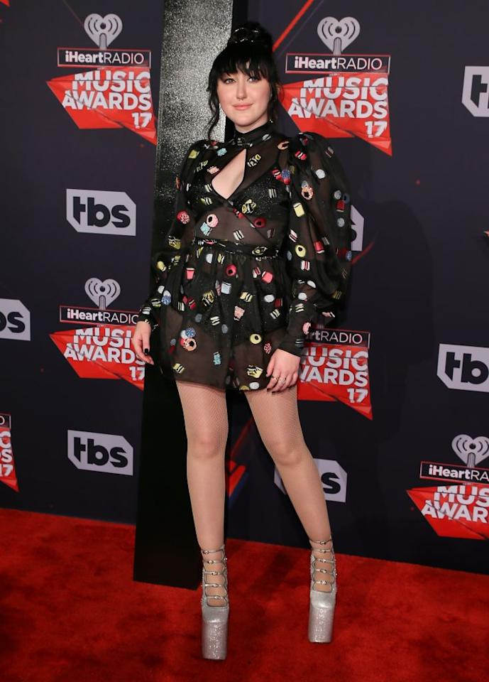 <p>Miley's younger sister is making her own noise in the music biz — and in this outfit. (Photo: Getty Images)  </p>