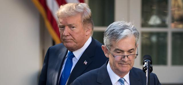 President Donald Trump looks on as his nominee for the chairman of the Federal Reserve Jerome Powell takes to the podium in the Rose GardenNov. 2.