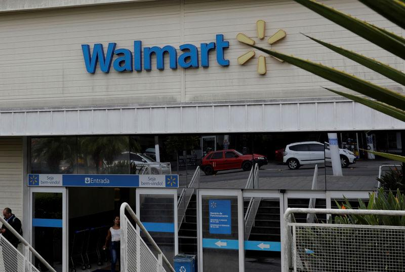 The main entrance to a Walmart store is pictured in Sao Paulo