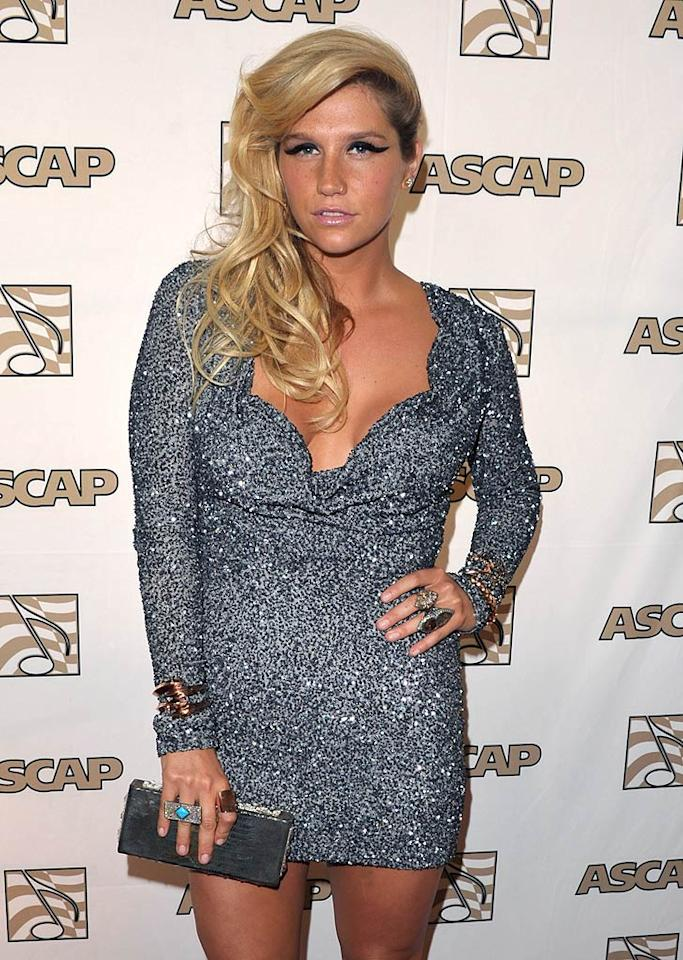 "Ke$ha showed lots of leg at the American Society of Composers, Authors, and Publishers 28th Annual Pop Music Awards in Hollywood on Wednesday night. John Shearer/<a href=""http://www.wireimage.com"" target=""new"">WireImage.com</a> - April 27, 2011"