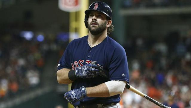 Mitch Moreland was reactivated from the injured list on Friday, but was forced to exit the Red Sox' matchup vs. the Rays early with another injury.