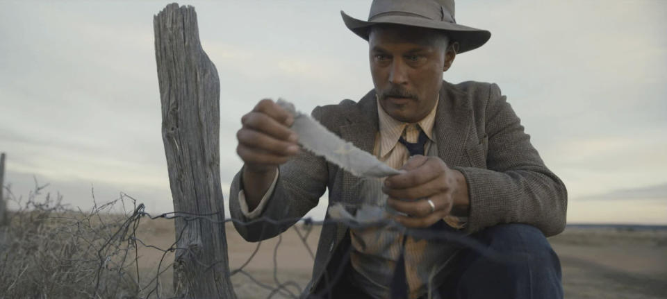 "This image released by Paramount Pictures shows Travis Fimmel in a scene from ""Dreamland."" (Ursula Coyote/Paramount Pictures via AP)"