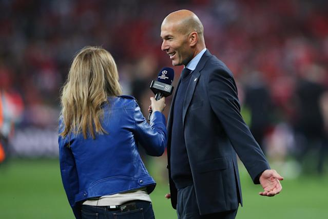 Soccer Football - Champions League Final - Real Madrid v Liverpool - NSC Olympic Stadium, Kiev, Ukraine - May 26, 2018 Real Madrid coach Zinedine Zidane gives an interview at the end of the match REUTERS/Hannah McKay