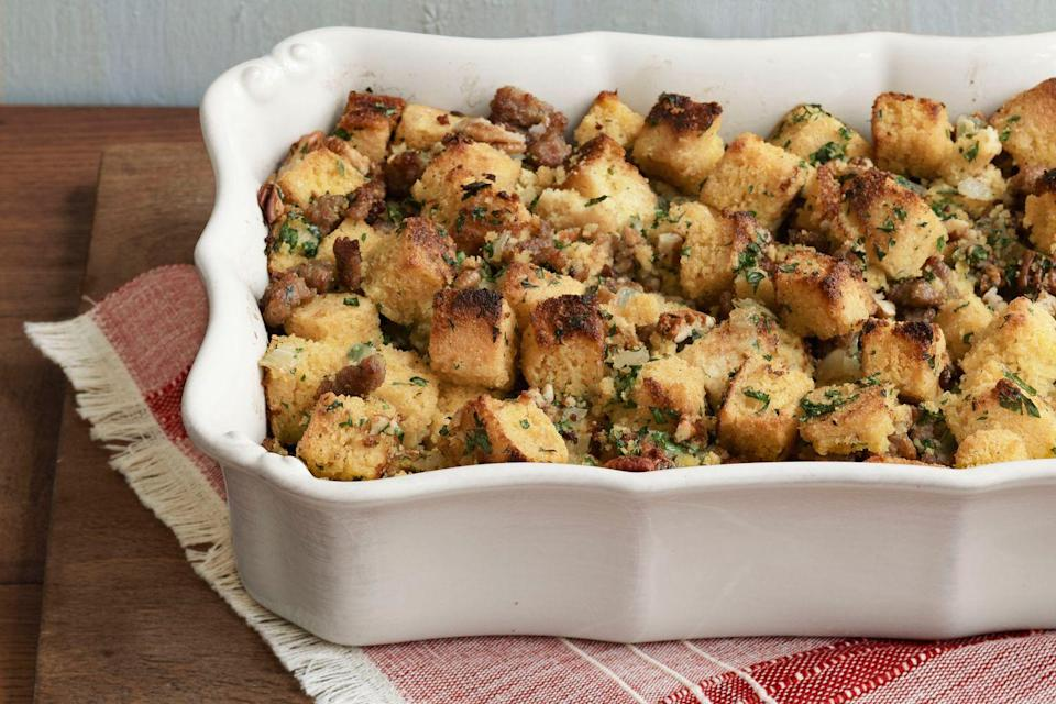 """<p>Reality stars Brent Ridge and Josh Kilmer-Purcell take old family recipes in a decadent new direction with their fresh approach to Thanksgiving.</p><p><strong>Main Course:</strong></p><p><a href=""""https://www.countryliving.com/food-drinks/recipes/a3086/butter-herb-roast-turkey-recipe/"""" rel=""""nofollow noopener"""" target=""""_blank"""" data-ylk=""""slk:Butter-and-Herb Roast Turkey"""" class=""""link rapid-noclick-resp"""">Butter-and-Herb Roast Turkey</a></p><p><strong>Side Dishes:</strong></p><p><a href=""""https://www.countryliving.com/food-drinks/recipes/a3995/buttermilk-cornbread-stuffing-sausage-recipe-clx1111/"""" rel=""""nofollow noopener"""" target=""""_blank"""" data-ylk=""""slk:Buttermilk Cornbread Stuffing with Sausage"""" class=""""link rapid-noclick-resp"""">Buttermilk Cornbread Stuffing with Sausage</a></p><p><a href=""""https://www.countryliving.com/food-drinks/recipes/a4049/leek-potato-gratin-recipe-clx1111/"""" rel=""""nofollow noopener"""" target=""""_blank"""" data-ylk=""""slk:Leek and Potato Gratin"""" class=""""link rapid-noclick-resp"""">Leek and Potato Gratin</a></p><p><a href=""""https://www.countryliving.com/food-drinks/recipes/a3702/green-bean-salad-red-onions-recipe-clx1111/"""" rel=""""nofollow noopener"""" target=""""_blank"""" data-ylk=""""slk:Green Bean Salad with Red Onions"""" class=""""link rapid-noclick-resp"""">Green Bean Salad with Red Onions</a></p><p><a href=""""https://www.countryliving.com/food-drinks/recipes/a3958/brussels-sprouts-bacon-roasted-chestnuts-recipe-clx1111/"""" rel=""""nofollow noopener"""" target=""""_blank"""" data-ylk=""""slk:Brussels Sprouts with Bacon and Roasted Chestnuts"""" class=""""link rapid-noclick-resp"""">Brussels Sprouts with Bacon and Roasted Chestnuts</a></p><p><a href=""""https://www.countryliving.com/food-drinks/recipes/a3704/sweet-potatoes-ancho-maple-glaze-recipe-clx1111/"""" rel=""""nofollow noopener"""" target=""""_blank"""" data-ylk=""""slk:Sweet Potatoes with Ancho-Maple Glaze"""" class=""""link rapid-noclick-resp"""">Sweet Potatoes with Ancho-Maple Glaze</a></p><p><a href=""""https://www.countryliving.com/food-drinks/recipes/a3707/cranberry-dried-cherry-sauc"""
