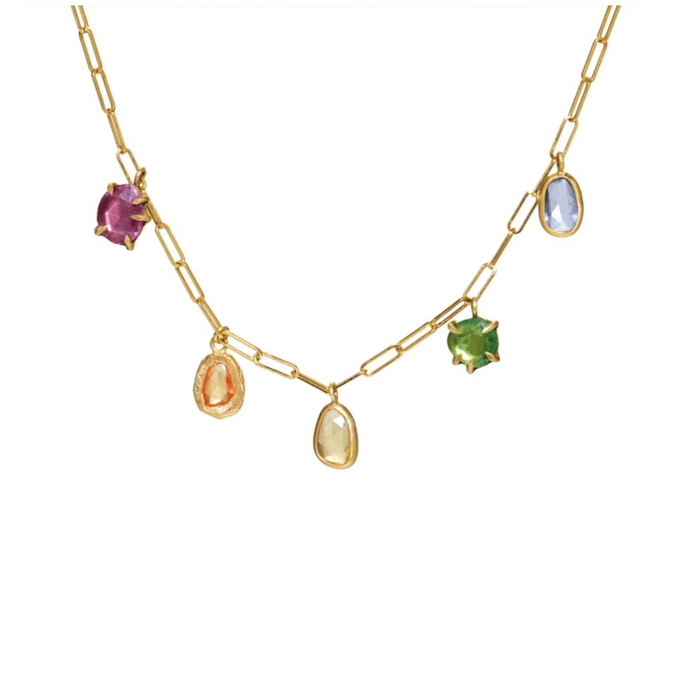 """<p><strong>Page Sargisson</strong></p><p>pagesargisson.com</p><p><strong>$3500.00</strong></p><p><a href=""""https://www.pagesargisson.com/collections/necklaces/products/rainbow-sapphire-necklace"""" rel=""""nofollow noopener"""" target=""""_blank"""" data-ylk=""""slk:Shop Now"""" class=""""link rapid-noclick-resp"""">Shop Now</a></p><p>Cast in recycled 18-karat gold with vibrant sapphires and antique diamonds, this necklace is meant to be lived in. </p>"""