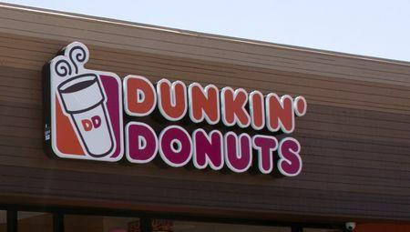 The signage is pictured at a newly opened Dunkin' Donuts store in Santa Monica