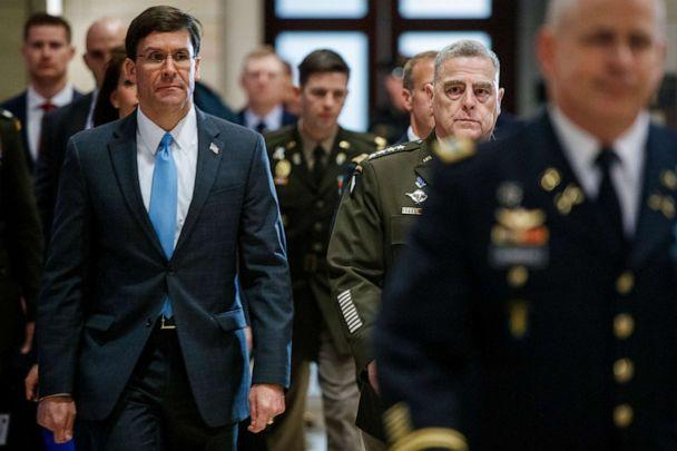PHOTO: Secretary of Defense Mark Esper and Chairman of the Joint Chiefs of Staff Mark Milley arrive to brief lawmakers on U.S. engagements with Iran in the U.S. Capitol in Washington, Jan. 8, 2020. (Shawn Thew/EPA via Shutterstock)