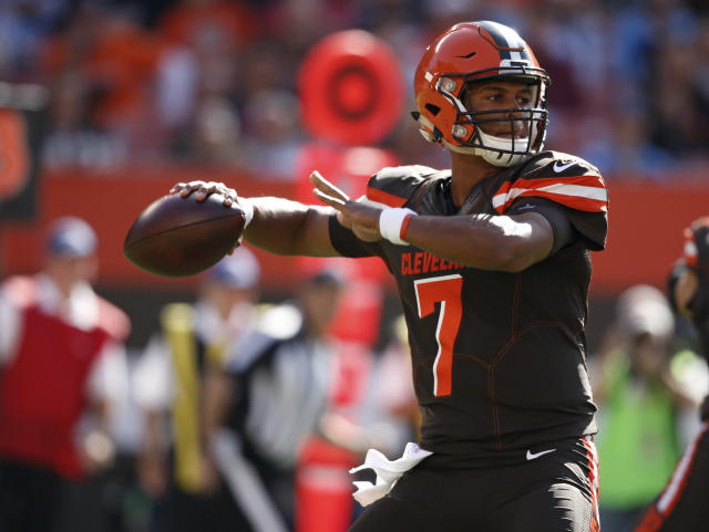 Cleveland Browns quarterback DeShone Kizer was benched again on Sunday. (AP)