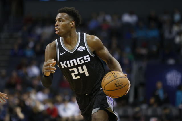 "After falling to the Timberwolves in double overtime on Thursday, Buddy Hield sounded off on ""trust issues"" within the Kings' locker room. (AP/Nell Redmond)"