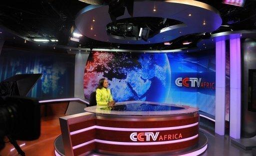 News presenter Beatrice Marshall at CCTV Africa's studio in Nairobi. CCTV Africa, which employs about sixty people, was the first regional bureau to produce and broadcast its own hour-long news programme on CCTV News