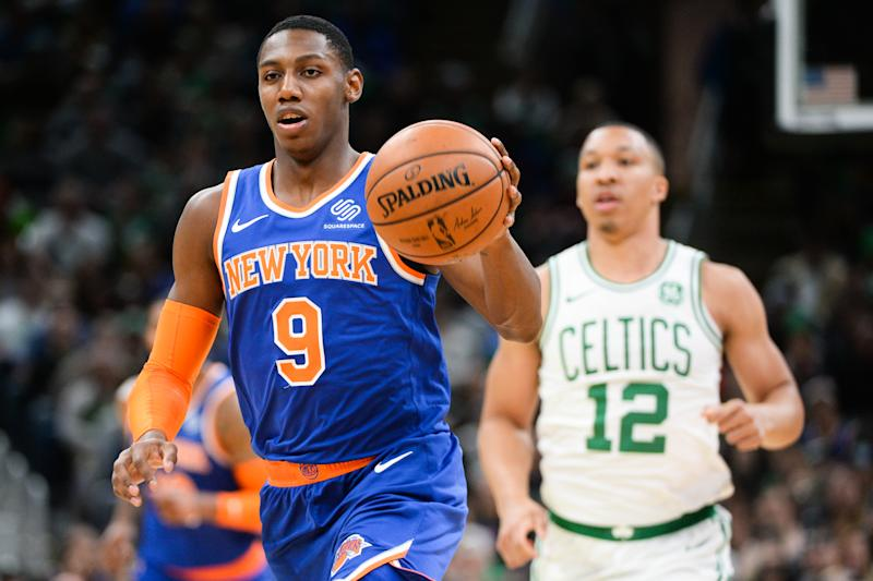 BOSTON, MA - NOVEMBER 1: R.J. Barrett #9 of the New York Knicks dribbles the ball up court against the Boston Celtics in the first half at TD Garden on November 1, 2019 in Boston, Massachusetts. NOTE TO USER: User expressly acknowledges and agrees that, by downloading and or using this photograph, User is consenting to the terms and conditions of the Getty Images License Agreement. (Photo by Kathryn Riley/Getty Images)
