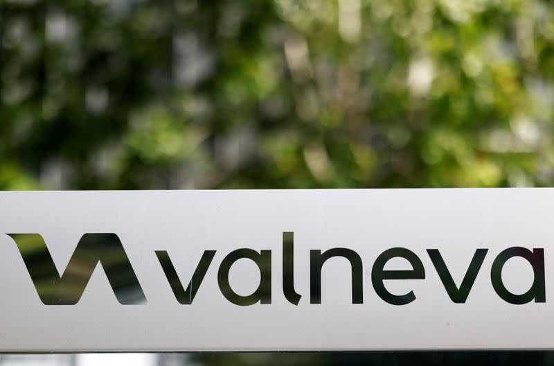 The logo of Valneva SE is pictured at the company's headquarters in Saint-Herblain