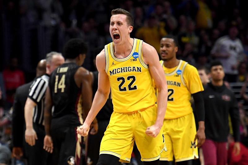 LOS ANGELES, CA - MARCH 24: Duncan Robinson #22 of the Michigan Wolverines reacts in the second half while taking on the Florida State Seminoles in the 2018 NCAA Men's Basketball Tournament West Regional Final at Staples Center on March 24, 2018 in Los Angeles, California. (Photo by Harry How/Getty Images)
