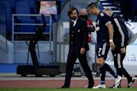 Juventus forward Cristiano Ronaldo went off after spraining his right ankle