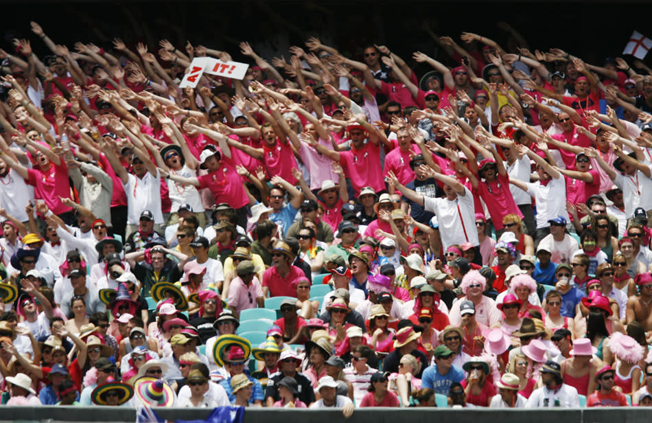 The Barmy Army group of England supports wear pink to show their support for the McGrath Foundation whilst cheering on their team against Australia during the third day of the fifth Ashes cricket Test at the Sydney Cricket Ground (SCG) in Sydney on January 5, 2011. England were 303-5 after lunch topping Australia's first innings total of 280.  IMAGE STRICTLY RESTRICTED TO EDITORIAL USE - STRICTLY NO COMMERCIAL USE AFP PHOTO / Krystle WRIGHT (Photo credit should read KRYSTLE WRIGHT/AFP/Getty Images)