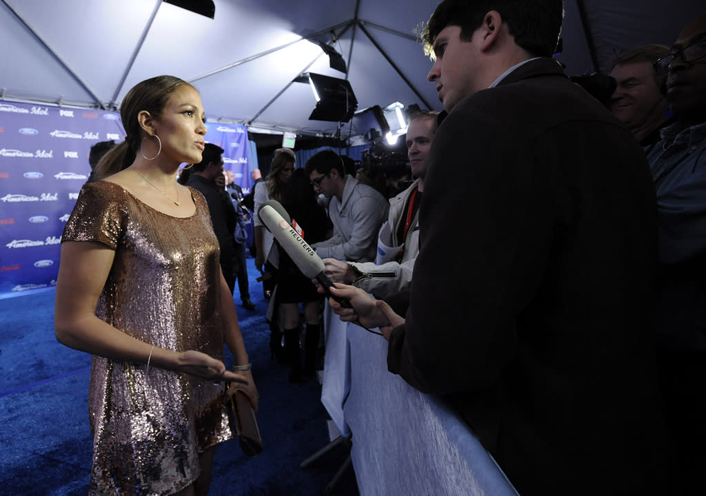 """Jennifer Lopez on the blue carpet of the Season 11 """"<a href=""""http://tv.yahoo.com/american-idol/show/34934"""">American Idol</a>"""" Top 13 Finalists Party on Thursday, March 1 at The Grove in Los Angeles, CA."""