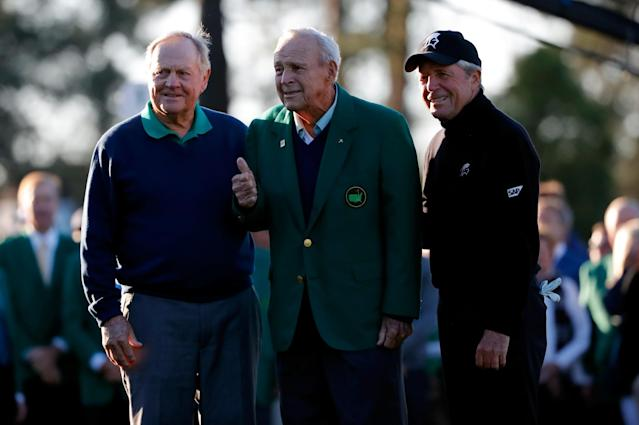 <p>Honorary starters Jack Nicklaus, Arnold Palmer and Gary Player attend the ceremonial tee off to start the first round of the 2016 Masters Tournament at Augusta National Golf Club on April 7, 2016 in Augusta, Georgia. (Photo by Kevin C. Cox/Getty Images) </p>