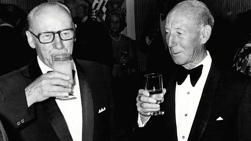 Sir Donald Bradman and Lindsay Hassett, pictured here in 1979.