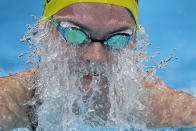 Chelsea Hodges, of Australia, swims in a women's 4x100-meter medley relay heat at the 2020 Summer Olympics, Friday, July 30, 2021, in Tokyo, Japan. (AP Photo/Gregory Bull)
