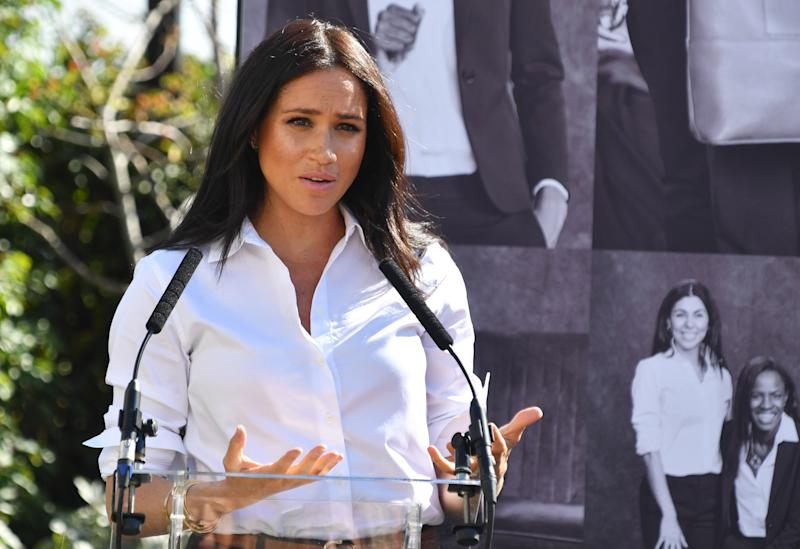 LONDON, ENGLAND - SEPTEMBER 12: Meghan, Duchess of Sussex delivers a speech as she launches the Smart Works capsule collection on September 12, 2019 in London, England. Created in September 2013 Smart Works exists to help unemployed women regain the confidence they need to succeed at job interviews and return to employment. (Photo by Mark Large - WPA Pool/Getty Images)
