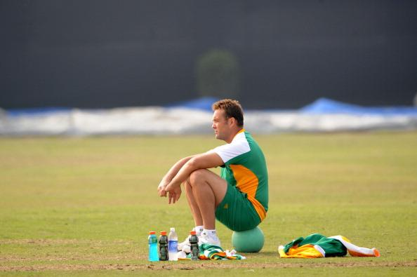 DELHI, INDIA - FEBRUARY 21:  Jacques Kallis of South Africa looks on during the South African national cricket team practice session at Airforce cricket services ground on February 21, 2011 in Delhi, India (Photo by Lee Warren/Gallo Images/Getty Images)
