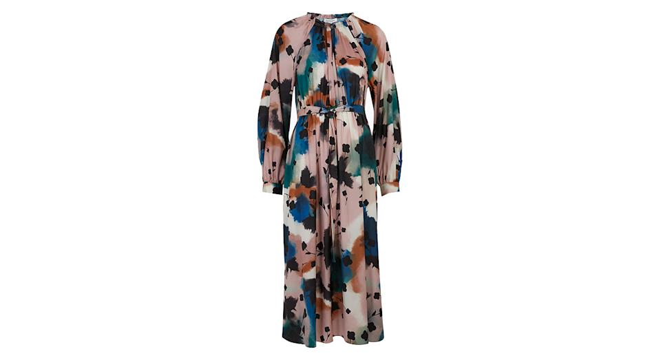 AUTOGRAPH Abstract Floral Midaxi Waisted Dress
