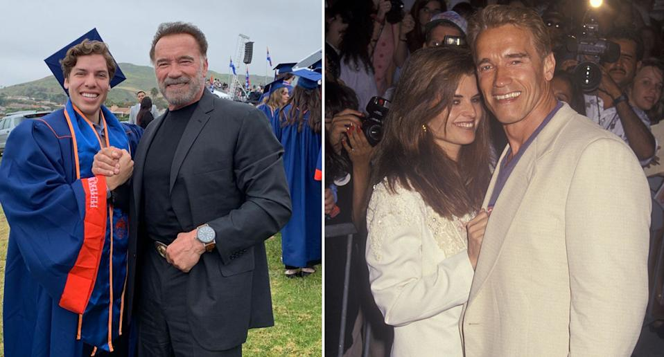 Fans were left shocked in 2011 when news came to light that Arnold Schwarzenegger had an extramarital affair with his housekeeper Mildred Patricia Baena. The pair had been engaged in an affair while the actor and politician was still married to Maria Shriver, and resulted in the birth of their child, Joseph Baena in 1997. Photos: Getty Images and Twitter/@Schwarzenegger