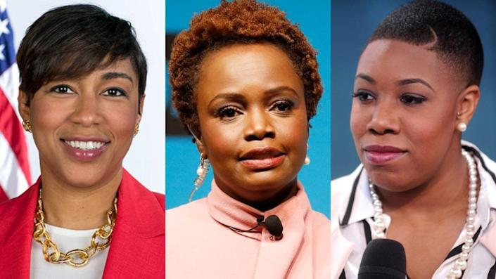 Left to right: Ashley Etienne, who will serve as Vice President-elect Kamala Harris's communications director, Karine Jean Pierre, who will serve as White House principal deputy press secretary and Symone Sanders, who will serve as Harris's chief spokeswoman. (Photo: Getty Images, U.S. Government)