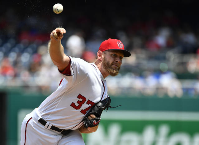 "Trading for someone like <a class=""link rapid-noclick-resp"" href=""/mlb/players/8562/"" data-ylk=""slk:Stephen Strasburg"">Stephen Strasburg</a> makes a whole lot of sense at this point in the season. Mandatory Credit: Brad Mills-USA TODAY Sports"