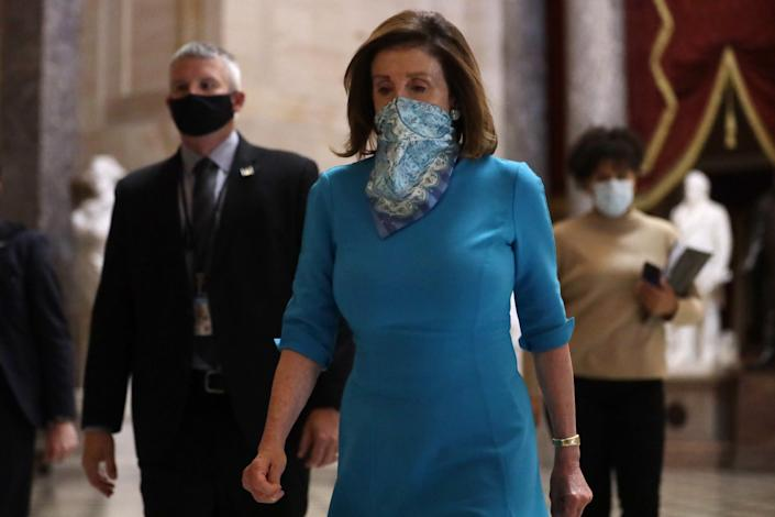 WASHINGTON, DC - MAY 07: U.S. Speaker of the House Rep. Nancy Pelosi (D-CA) leaves after a weekly news conference at the U.S. Capitol May 7, 2020 in Washington, DC. Speaker Pelosi spoke on the latest regarding the COVID-19 pandemic outbreak. (Photo by Alex Wong/Getty Images)