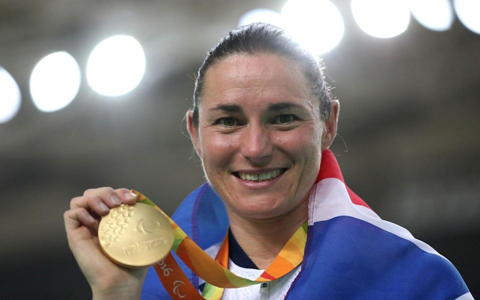 Dame Sarah Storey won her 12th Paralympic gold medal in the C5 three-kilometres individual pursuit in Rio - PA