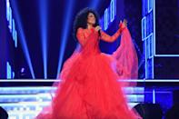 <p>A queen of Motown knows how to make an entrance: A tulle gown in a ruby red helps make Ross the star of the show at the 61st Annual GRAMMY Awards in Los Angeles. <br></p>