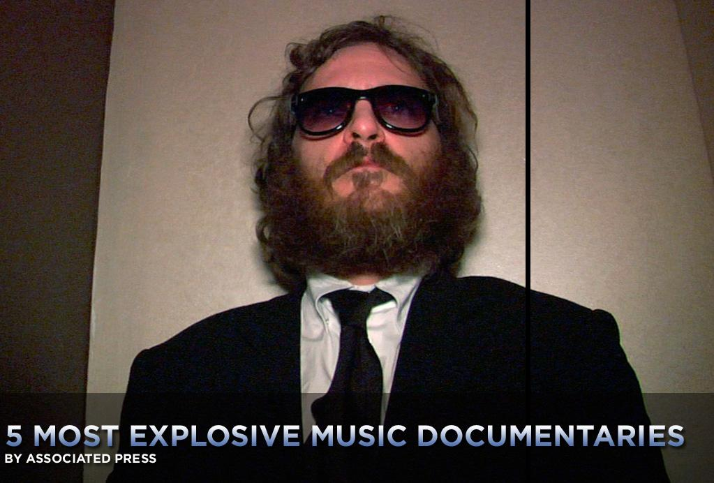 """There are music documentaries that are all about the music -- concert films that focus solely on the artistry and thrill of live performance -- and then there are juicy ones that are all about backstage ego and volatility.   <a href=""""http://movies.yahoo.com/movie/1810167068/info"""">I'm Still Here</a>, which follows Joaquin Phoenix's tumultuous transformation from Oscar-nominated actor to shaggy, doughy rapper, would seem to fall into the latter category -- if it truly is a documentary, that is, and not an elaborate put-on. <a href=""""http://movies.yahoo.com/news/movies.ap.org/5-most-explosive-music-documentaries-ap"""">Here are some other examples of serious rock-star behavior</a>:"""