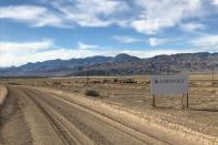 FILE PHOTO: A sign at the approach road leads to Albemarle's lithium evaporation ponds at its facility in Silver Peak
